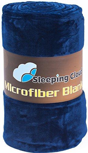 Sleeping Cloud マイクロファイバー 夏用 毛布 セミダブル やわらか なめらか 静電気防止(160*200,ネイビー)