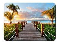 カリブ海のビーチタークス・カイコス諸島の日没 パターンカスタムの マウスパッド 海 (26cmx21cm)