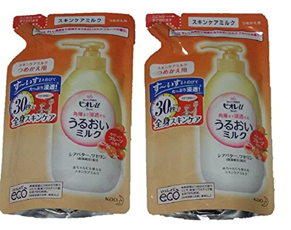 運動する地震薬を飲む【2袋セット】 ビオレU うるおいミルク フルーツの香り つめかえ用