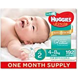Huggies Ultimate Nappies, Unisex, Size 2 Infant (4-8kg), 192 Count, One-Month Supply, Packaging May Vary