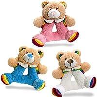 Keel Toys Rainbow Teddy Rattle 15cm - Pink by Keel Toys