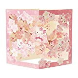 和風カード 多目的 ポップアップ ハローキティ 枠の中に桜の枝 P7019