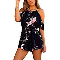 Women Jumpsuit♥Summernet Ladies Casual Cotton Blended Playsuit For Holiday Summer Broadcloth Short Sleeve Jumpsuit