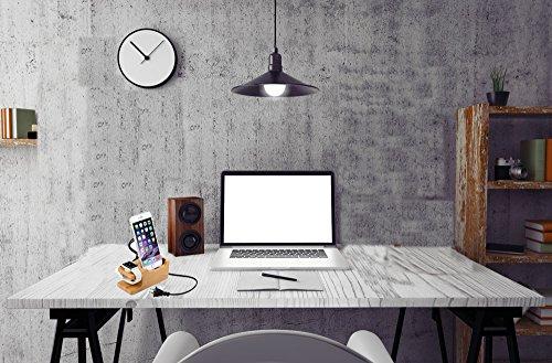 Leeko Apple Watch iPhone充電スタンド 竹製 2in1充電スタンド 充電クレードル 卓上ホルダー iphone6 plus/iphone6/iphone5s/5c/5対応 和風