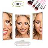 [Upgraded 2018] Makeup Vanity Mirror with LED Lights [Bundle] 7 Piece Bonus Brush Set Magnification 1x2x3 for Your Clearest Reflection with 180 Degrees Rotation Dual Power (White) by Angelgear