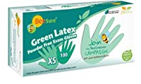 BeeSure BE2835 Green Latex Powder Free Exam Gloves,X-Small (Pack of 100) [並行輸入品]
