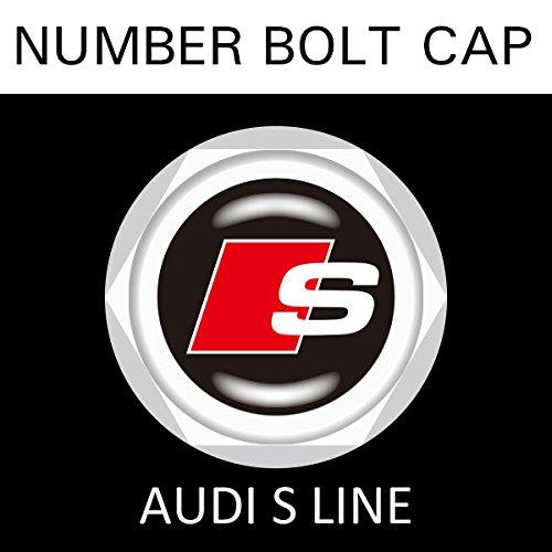 【AUDI S LINE】【ナンバープレート用】アウディ Sライン ナンバーボルトキャップ NUMBER BOLT CAP 3個入りセット タイプ1 ブラガ