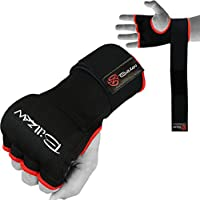 billzanトレーニングジェルパッド入りボクシングInner Gloves手ワープMMA Fistプロテクター包帯ブラック(ペア)