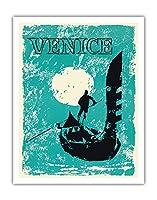 ヴェネツィア、イタリア - ヴェネツィアゴンドラ - ビンテージな世界旅行のポスター c.1960 - アートポスター - 28cm x 36cm