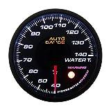 AUTOGAUGE(オートゲージ) 水温計 60mm 60Φ 追加メーター 日本製ステッピングモーター スモークレンズ ワーニング機能 360シリーズ 360WT