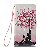 MOBONCAS Huawei P10 Lite Wallet Flip Phone Case for Huawei P10 Lite Leather PU with Colorful Pattern Design Bookstyle Card Holder Kickstand Design Protective Cover Bumper Holster-Pink Tree.