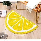 Rainbow/Lemon Rug Carpet Water Absorption Non-Slip Bedroom Bathroom Door Mat (Lemon S)