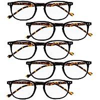 BFOCO 5 Pairs Retro Reading Glasses for Women Men Include Reading Sunglasses