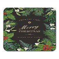 ヴィンテージ冬の松の枝でクリスマスの挨拶のクリスマスパッドノートブック、デスクトップコンピューターのマウスマット、オフィス用品のヒイラギのマウスパッド