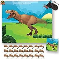 恐竜ゲームに尾をピン - 誕生日パーティー用品と男の子用のデコレーション。 ステッカー24枚 & 目隠し。アルパインセレブレーション。