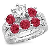 14Kゴールドルビー&ホワイトダイヤモンドブライダル3ストーン婚約指輪セット