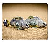 マウスパッドゲームマウスパッド自然ゴムマウスマット茶色の袋M0A01144でセラミック魚の