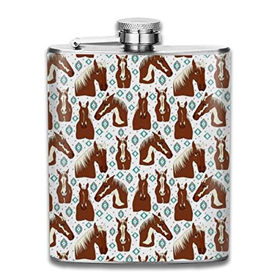 勇者維持するコンサート駿馬 しゅんめ フラスコ スキットル ヒップフラスコ 7オンス 206ml 高品質ステンレス製 ウイスキー アルコール 清酒 携帯 ボトル