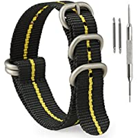 SIMCOLOR 1.5mm Zulu Nylon Watch Bands,Military Nylon Replacement Watch Straps 18mm 20mm 22mm or 24mm