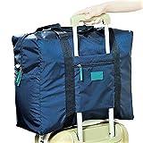 【POSITIVE】 スーツケース の持ち手に通せる バッグ オン バッグ フォールディングバッグ 軽量 折りたたみ トラベルバッグ 旅行バッグ 【 旅行 や 出張 に最適な バッグ !】 ロゴパッケージ入り (ネイビー(折りたたみ))