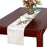 LKCDNG テーブルランナー 木の葉 鳥 クロス 食卓カバー 麻綿製 欧米 おしゃれ 16 Inch X 72 Inch (40cm X 182cm) キッチン ダイニング ホーム デコレーション モダン リビング 洗える