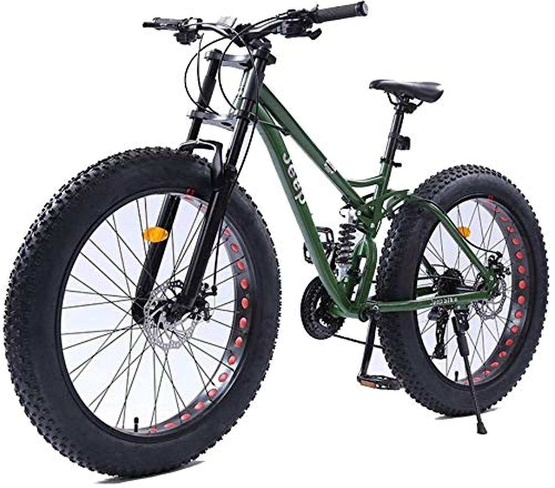 行き当たりばったり体操半導体XinQing 自転車 26インチの女性のマウンテンバイク、デュアルディスクブレーキファットタイヤマウンテントレイルバイク、ハードテイルマウンテンバイク、アジャスタブルシート自転車、高炭素鋼フレーム、グリーン、27スピード