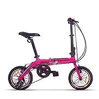 折りたたみ自転車 RICH BIT 026 超軽量 7.4kg 超小型 14インチ コンパクト折りたたみ自転車 3段変速 小径車 アルミフレーム 高さ調整機能付きハンドルステム搭載 (ピンク)