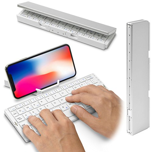 [スタンド内蔵&折りたたみ式] Bookey© Stick(ホワイト)iPad&iPhone&Android対応 小型軽量マルチキーボード ・スティック状に折りたたみ可能・持ち運びに便利なポータブルタイプ・Bluetooth ワイヤレス