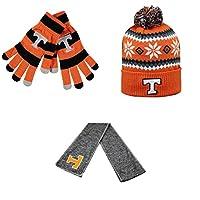 NCAAテネシーボランティアHailスカーフFogbowビーニー帽子とグローブストライプニット3パックバンドル