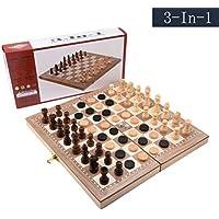 3 - in - 1の木製チェスセット折りたたみ式チェス、旅行の子供と大人、標準Backgammon Checkers、チェスボードゲーム11.5 × 11.5 × 0.8inch