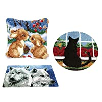 chiwanji ツール付 DIY ホーム アート 装飾品 3セット 動物柄 ラッチフック 敷物キット