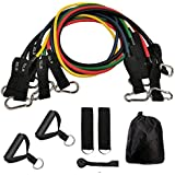 FONESO Resistance Bands 11 Piece Set with Exercise Tube Bands, Door Anchor, Ankle Straps and Carry Bag (10, 15, 20, 25 & 30 lbs)