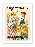ナショナル・ローン1920 - 購読します - ニューヨーク、パリの公平信託会社 - ビンテージな広告ポスター によって作成された ギラウーム・セイニャック c.1920 -プレミアム290gsmジークレーアートプリント - 46cm x 61cm