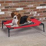 (つながる)Vedem 脚付きコット型 ペットベッド 猫/犬 ポータブル キャンプ用 折り畳み式ベッド スチール製フレーム (S: 60*45*16cm, レッド) [並行輸入品]
