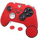 Xbox One Elite エリート オリジナル コントローラー用 ちりばめ シリコン スキン ケース 保護カバー x 1(レッド) ティック カバー x 2