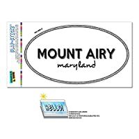 マウントエアリー, MD - メリーランド州 - 黒と白 - 都市国家 - 楕円形 Laminated ステッカー