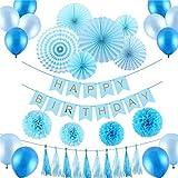 IPALMAY 誕生日 飾り付け 超豪華33点 ブルー系 セット HAPPY BIRTHDAYガーランド ペーパーファン ペーパーフラワー 風船 バルーン セット (ブルー)