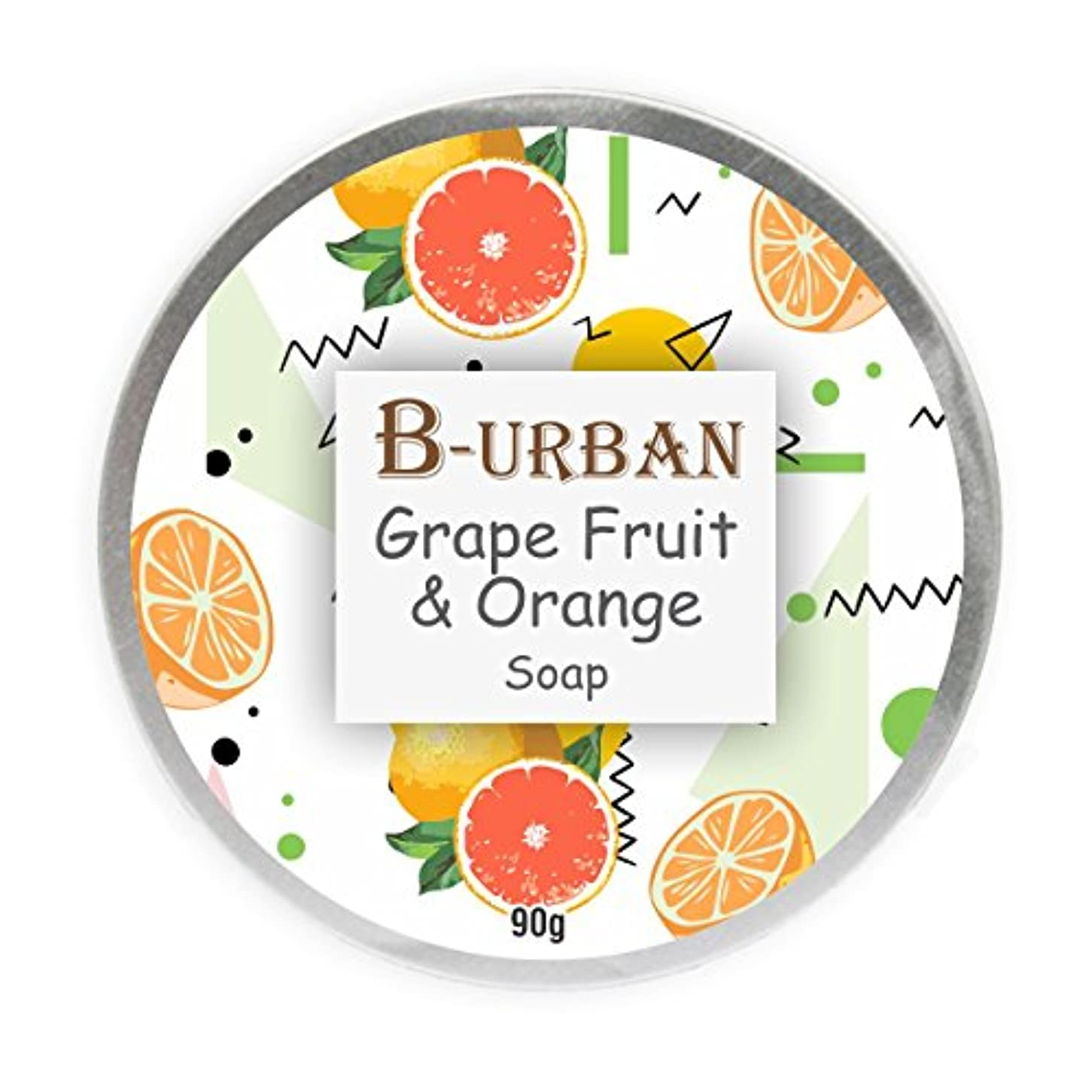 一目いつハリウッドB-Urban Grape Fruit And Orange Soap Made With Natural And Organic Ingredients. Paraben And Sulphate Free. Anti Aging Soap.Comes In A Unique Aluminium Box