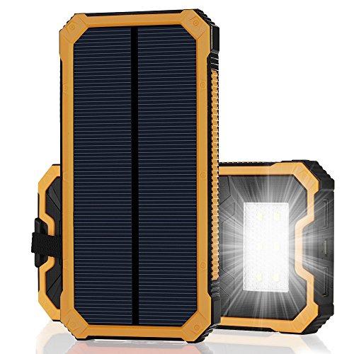 15000mAh大容量 iPhone充電器 モバイルバッテリー ソーラーチャージャー 2USB充電ポート 2つの充電方法 フック付き 防水設計 緊急防災用 iPhone7 iPad Android Xperia Galaxy等に対応 旅行 キャンプ アウトドアに大活躍(イエロー)