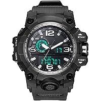 Bounabay Dual Dial Analog Digital Quartz Sport Watch Multifunction Shock Resistant Sport Watches for Men Black