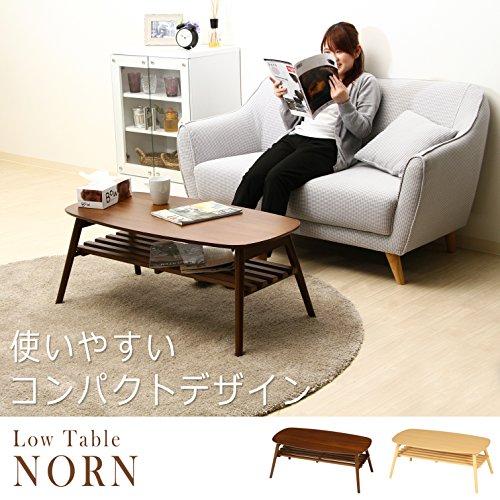 不二貿易 折れ脚センターテーブル ノルン 完成品 100×50cm ミディアムブラウン 95780