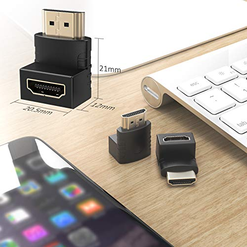 『ELUTENG 4K HDMI アダプタ L型 30Hz [6点セット] 延長コネクタ 90度 + 270度 オス メス HDMI 中継 アダプタ HDMI2.0 変換 エクステンダー 下向き L 延長器 コネクター 金メッキ ミニプラグ』の6枚目の画像