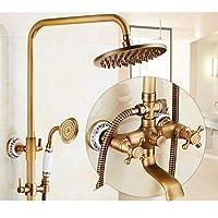 真鍮のバスタブシャワーの蛇口セット8インチのレインフォールシャワーヘッド+ハンドスプレーヤの磁器のデコ (色 : 1)