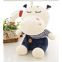 HuaQingPiJu-JP かわいいソフト35cmカバのおもちゃぬいぐるみ動物の人形(子供のためのネイビーブルー)