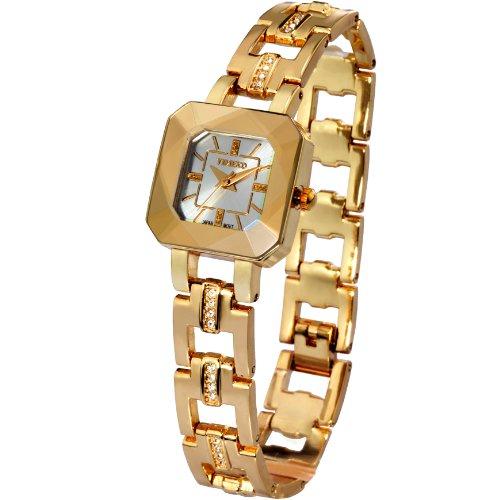Time100 日本製SEIKOムーブメント スケルトン ダイヤモンド付き 30M防水 腕時計 ブレスレット レディース W80023L.03A (ゴールド)…