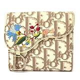 クリスチャン Christian Dior トロッター 刺繍入り ボタニカル 二つ折 折財布 キャンバス ベージュ ホワイト シルバー金具 中古