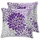 Modern Purple and Gray Floral Square Throw Pillow Case Cushion Cover Home for Sofa Chair Couch/Bedroom Decorative Pillowcases Set of 2