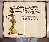 "Afro装飾カーテンby Ambesonne、花柄ヘッドキューバMan with Bunch of Flowers onヘアヒッピーファッション印刷、リビングルームベッドルームウィンドウドレープ2パネルセット、Rubyライトイエロー 108"" W By 90"" L p_23264_108x90"