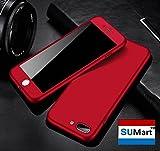 【SUMart】 iPhone7ケース 全面保護 強化ガラスフィルム 360度フルカバー 衝撃防止 アイフォン7ケース おしゃれ 高級感 薄型 携帯カバー 耐衝撃 (iPhone 7 4.7インチ, レッド)