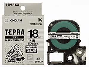 キングジム テープカートリッジ テプラPRO ST18KW 強粘着 18mm 透明